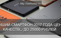 Лучший смартфон 2017 года цена качество до 25000 рублей